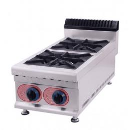 Cocina de sobremesa profesional de gas con 2 quemadores