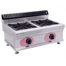 Cocina de sobremesa profesional de gas con 2 quemadores horizontal