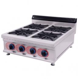 Cocina de sobremesa profesional de gas con 3 quemadores horizontal